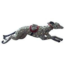 Art Deco Rhinestone & Enamel Running Greyhound Pin