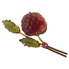 Vintage Austrian Molded Satin Glass Fruit Pin Raspberry