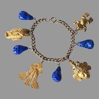 Vintage Pre-Columbian Style Charm Bracelet