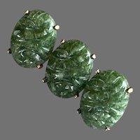 WRE W. E. Richards Gold-Filled Nephrite Jade Pin