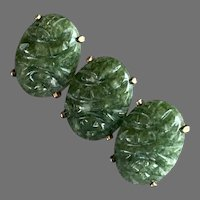 WRE W. E. Richards Gold-Filled Nephrite Jade Pin