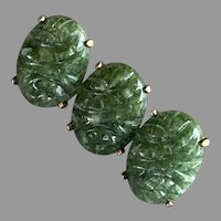 REDUCED WRE W. E. Richards Gold-Filled Nephrite Jade Pin