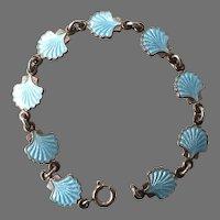 Volmer Bahner Denmark Sterling Light Blue Guilloche Enamel Shell Bracelet