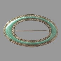 REDUCED Edwardian Sterling Guilloche Enamel Sash Pin