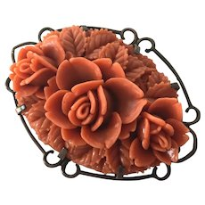 Vintage Molded Coral Celluloid Floral Pin By White Co.