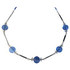 Art Deco Czech Blue Molded Glass Bead & Crystal Necklace