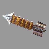 Reja Sterling Amber Rhinestone Arrow Pin 1943