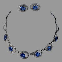 REDUCED WRE W. E. Richards Sterling Blue Stone Necklace & Earrings