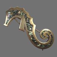 Los Castillo Mexican Silver Abalone Sea Horse Hair Clip