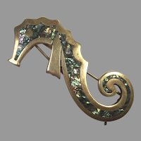 REDUCED Los Castillo Mexican Silver Abalone Sea Horse Hair Clip