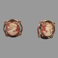Vintage Gold-Filled Fancy Cameo Earrings Signed