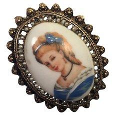 Vintage Hand Painted Limoges Portrait Pin / Pendant