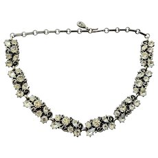 Vintage 1950's Lisner Clear Rhinestone Necklace
