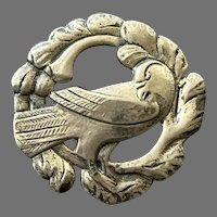 REDUCED Vintage Sterling Silver Frame Style Bird Pin