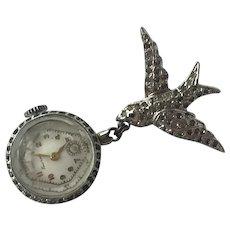 Vintage Ladies' Emerson Rhinestone Lapel Watch Pin