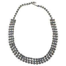 Triple Row Light Blue Rhinestone Choker Necklace