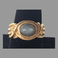 Sterling Vermeil & Moonstone Unisex Ring Size 10.5