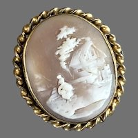 Vintage Gold-Filled Scenic Shell Cameo