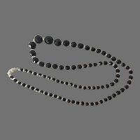 French Jet & Rock Crystal Graduated Beaded Necklace