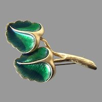 REDUCED Vintage Heavy Gold Tone & Green Enamel Leaves Pin
