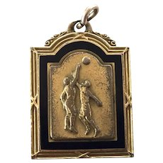 REDUCED 1925 Gold Filled Basketball Medal Pendant Charm By Robbins Co.