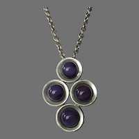 Kjeld Hansen Of Copenhagen Modernist Pewter & Purple Stone Necklace