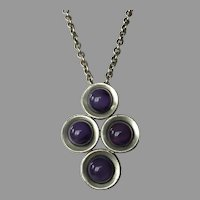 REDUCED Danish Kjeld Hansen Modernist Pewter & Purple Stone Necklace