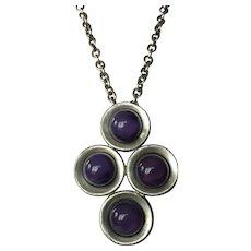 Kjeld Hansen Of Copenhagen Modernist Pewter & Purple Stone Necklace
