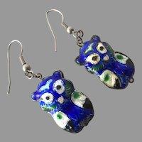 Vintage Chinese Enamel Double Sided Owl Earrings