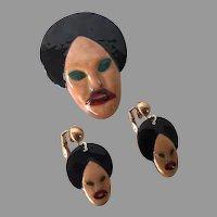REDUCED Vintage Genie Sultan Enamel Pin & Earrings Set