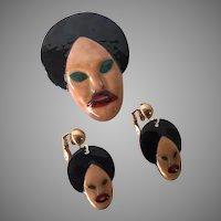 Vintage Genie Sultan Enamel Pin & Earrings Set