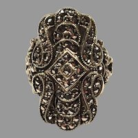REDUCED Sterling Silver Marcasite Ring Size 7