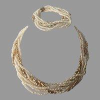 Genuine Freshwater Pearl & Gold Torsade Necklace & Bracelet Set