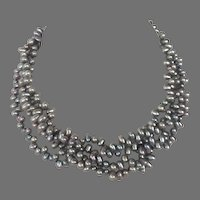 Vintage Gray Pearl Torsade Necklace With Sterling Clasp