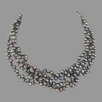 REDUCED Vintage Gray Pearl Torsade Necklace With Sterling Clasp