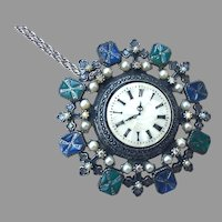 Vintage ART Faux Gemstone Clock Medallion On Chain