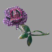 REDUCED Vintage 1940's Enamel & Pave Rhinestone Long Stem Rose Pin