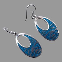 Vintage Mexican Sterling & Turquoise Enamel Earrings Ocean Motif