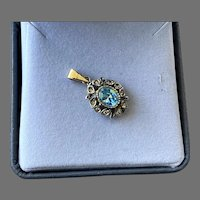 Italian Sterling Vermeil Pendant With Faux Blue Topaz