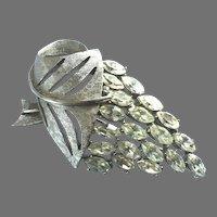 Vintage Unsigned Trifari Silver Tone Navette Stones Pin