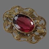 Victorian Brass Filigree Pin With Faceted Glass Stone