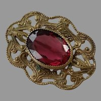 REDUCED Victorian Brass Filigree Pin With Faceted Glass Stone