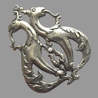 Vintage Silver Mythical Creatures Pendant