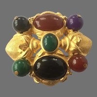 Vintage Gold Tone Pin With Carnelian, Chrysoprase and Onyx Signed Lazuli