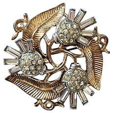 Crown Trifari Pave Rhinestone & Gold Tone Floral Pin