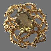 Panetta Gold-Plated Brutalist Pin With Faux Smokey Quartz