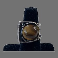 Sterling & Tiger Eye Brutalist Modernist Ring