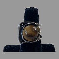 REDUCED Brutalist Sterling & Tiger Eye Modernist Ring