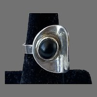 Modernist Silver Black Onyx Ring Adjustable