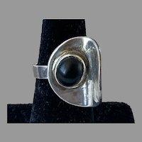 REDUCED Modernist Silver Black Onyx Ring Adjustable
